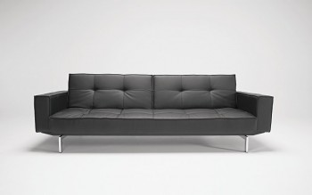 Oz sofa bed in black leather textile 582 _ front view