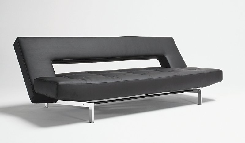 Wing Sofa Bed In Black Leather Textile 582 With Legs In Chrome