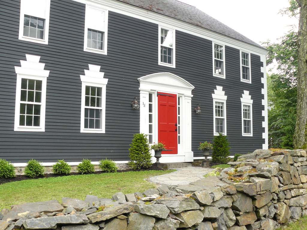 gray house with red door Quotes