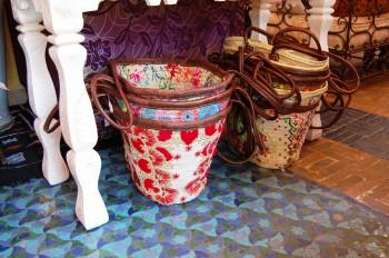 Moroccan baskets and floor tiles