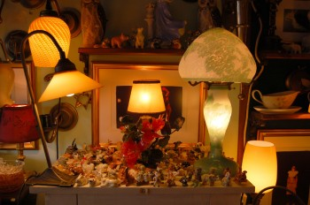 Ceramic tchochkes and lampshades