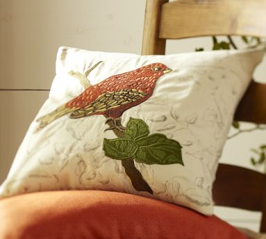 Pottery Barn embroidered bird pillow